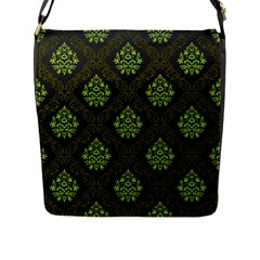 Leaf Green Flap Messenger Bag (l)  by Mariart