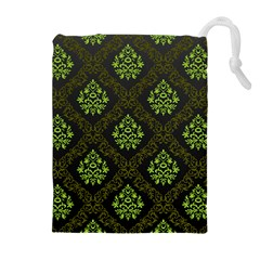 Leaf Green Drawstring Pouches (extra Large) by Mariart