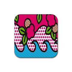 Rose Floral Circle Line Polka Dot Leaf Pink Blue Green Rubber Square Coaster (4 Pack)  by Mariart
