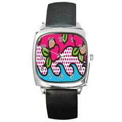 Rose Floral Circle Line Polka Dot Leaf Pink Blue Green Square Metal Watch by Mariart