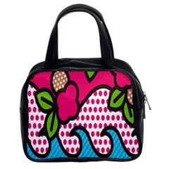 Rose Floral Circle Line Polka Dot Leaf Pink Blue Green Classic Handbags (2 Sides) by Mariart