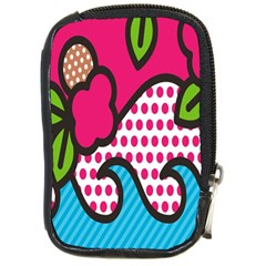 Rose Floral Circle Line Polka Dot Leaf Pink Blue Green Compact Camera Cases by Mariart