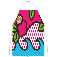 Rose Floral Circle Line Polka Dot Leaf Pink Blue Green Full Print Aprons by Mariart