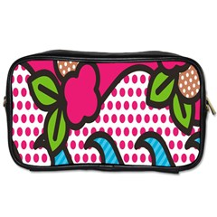 Rose Floral Circle Line Polka Dot Leaf Pink Blue Green Toiletries Bags by Mariart