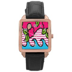 Rose Floral Circle Line Polka Dot Leaf Pink Blue Green Rose Gold Leather Watch  by Mariart