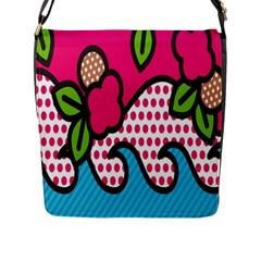 Rose Floral Circle Line Polka Dot Leaf Pink Blue Green Flap Messenger Bag (l)  by Mariart