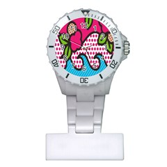 Rose Floral Circle Line Polka Dot Leaf Pink Blue Green Plastic Nurses Watch by Mariart