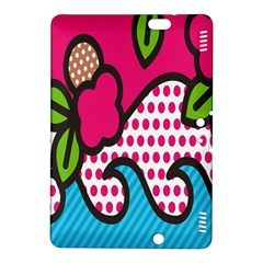 Rose Floral Circle Line Polka Dot Leaf Pink Blue Green Kindle Fire Hdx 8 9  Hardshell Case by Mariart