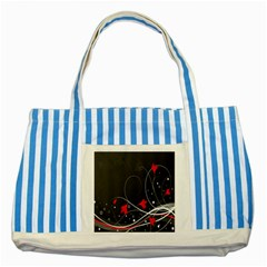 Star Red Flower Floral Black Leaf Polka Circle Striped Blue Tote Bag by Mariart