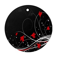 Star Red Flower Floral Black Leaf Polka Circle Round Ornament (two Sides) by Mariart