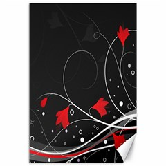 Star Red Flower Floral Black Leaf Polka Circle Canvas 24  X 36  by Mariart