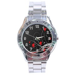 Star Red Flower Floral Black Leaf Polka Circle Stainless Steel Analogue Watch by Mariart