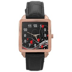 Star Red Flower Floral Black Leaf Polka Circle Rose Gold Leather Watch  by Mariart