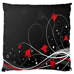 Star Red Flower Floral Black Leaf Polka Circle Large Flano Cushion Case (two Sides) by Mariart