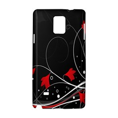 Star Red Flower Floral Black Leaf Polka Circle Samsung Galaxy Note 4 Hardshell Case by Mariart