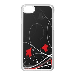 Star Red Flower Floral Black Leaf Polka Circle Apple Iphone 7 Seamless Case (white) by Mariart