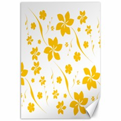 Shamrock Yellow Star Flower Floral Star Canvas 12  X 18   by Mariart