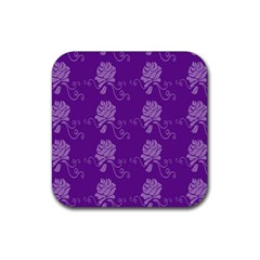 Purple Flower Rose Sunflower Rubber Coaster (square)  by Mariart