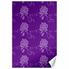 Purple Flower Rose Sunflower Canvas 24  X 36  by Mariart