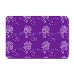 Purple Flower Rose Sunflower Small Doormat  by Mariart