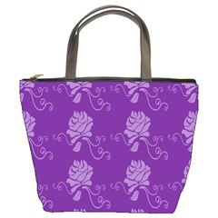 Purple Flower Rose Sunflower Bucket Bags by Mariart