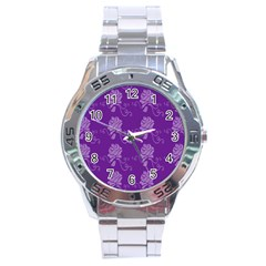 Purple Flower Rose Sunflower Stainless Steel Analogue Watch by Mariart