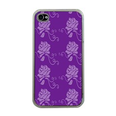Purple Flower Rose Sunflower Apple Iphone 4 Case (clear) by Mariart