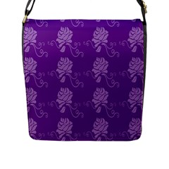 Purple Flower Rose Sunflower Flap Messenger Bag (l)  by Mariart