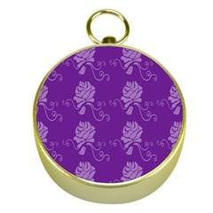 Purple Flower Rose Sunflower Gold Compasses by Mariart