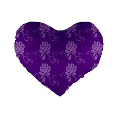 Purple Flower Rose Sunflower Standard 16  Premium Flano Heart Shape Cushions by Mariart