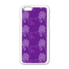 Purple Flower Rose Sunflower Apple Iphone 6/6s White Enamel Case by Mariart