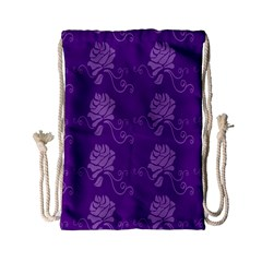 Purple Flower Rose Sunflower Drawstring Bag (small) by Mariart