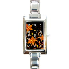 Star Leaf Orange Gold Red Black Flower Floral Rectangle Italian Charm Watch by Mariart