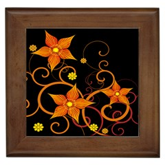 Star Leaf Orange Gold Red Black Flower Floral Framed Tiles by Mariart