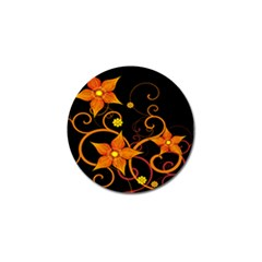 Star Leaf Orange Gold Red Black Flower Floral Golf Ball Marker (10 Pack) by Mariart