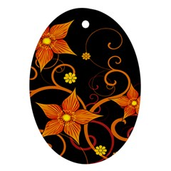 Star Leaf Orange Gold Red Black Flower Floral Oval Ornament (two Sides) by Mariart