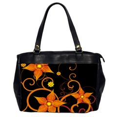 Star Leaf Orange Gold Red Black Flower Floral Office Handbags (2 Sides)  by Mariart