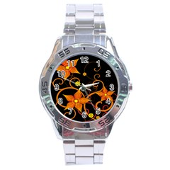Star Leaf Orange Gold Red Black Flower Floral Stainless Steel Analogue Watch by Mariart