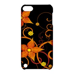 Star Leaf Orange Gold Red Black Flower Floral Apple Ipod Touch 5 Hardshell Case With Stand by Mariart