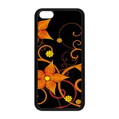 Star Leaf Orange Gold Red Black Flower Floral Apple Iphone 5c Seamless Case (black) by Mariart