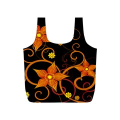 Star Leaf Orange Gold Red Black Flower Floral Full Print Recycle Bags (s)  by Mariart