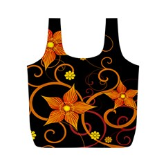 Star Leaf Orange Gold Red Black Flower Floral Full Print Recycle Bags (m)  by Mariart