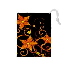 Star Leaf Orange Gold Red Black Flower Floral Drawstring Pouches (medium)  by Mariart