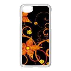 Star Leaf Orange Gold Red Black Flower Floral Apple Iphone 7 Seamless Case (white) by Mariart