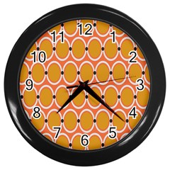 Orange Circle Polka Wall Clocks (black) by Mariart