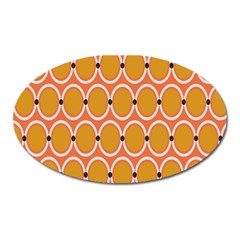Orange Circle Polka Oval Magnet by Mariart