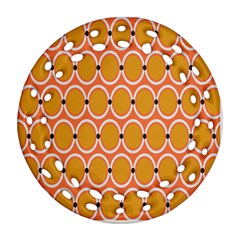 Orange Circle Polka Ornament (round Filigree) by Mariart