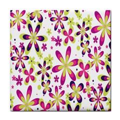 Star Flower Purple Pink Tile Coasters