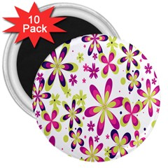 Star Flower Purple Pink 3  Magnets (10 Pack)  by Mariart