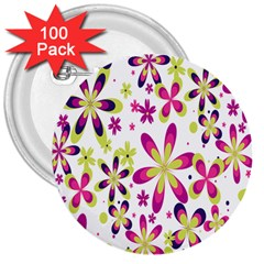 Star Flower Purple Pink 3  Buttons (100 Pack)  by Mariart